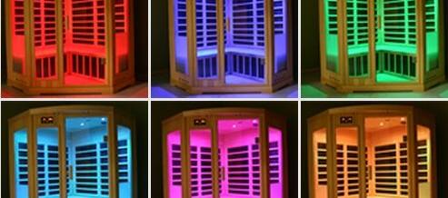 Een sauna met kleurentherapie: goed voor rust en harmonie